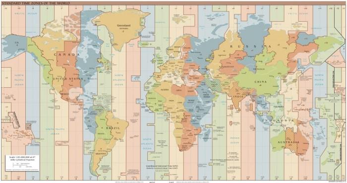 Фэн-Шуй карта часовых поясов